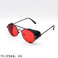 Солнцезащитные очки в стиле Стимпанк. Защита UV400. Цвет красный