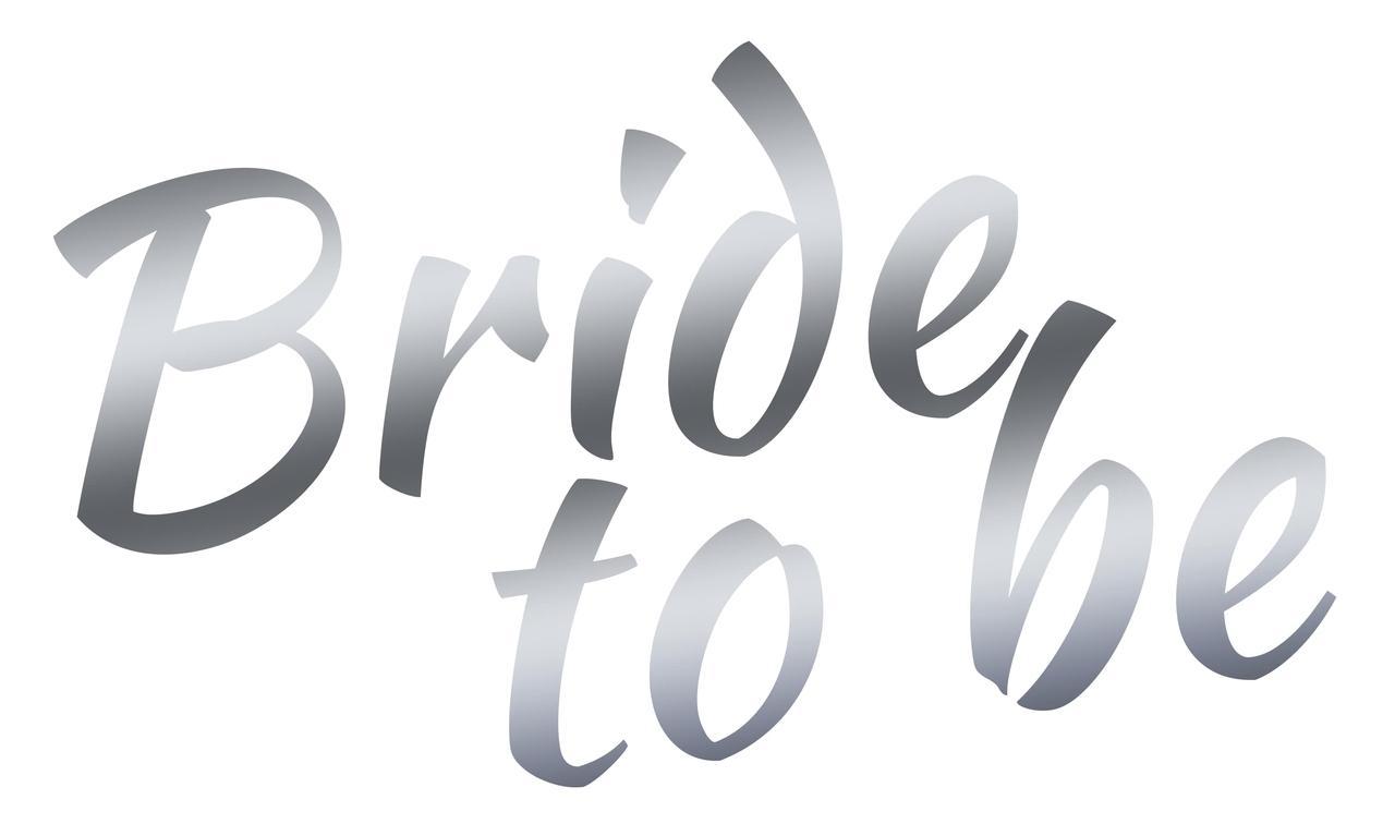 "Наклейка Bride to be(2) дзеркальне срібло 25х15 см (18"")"