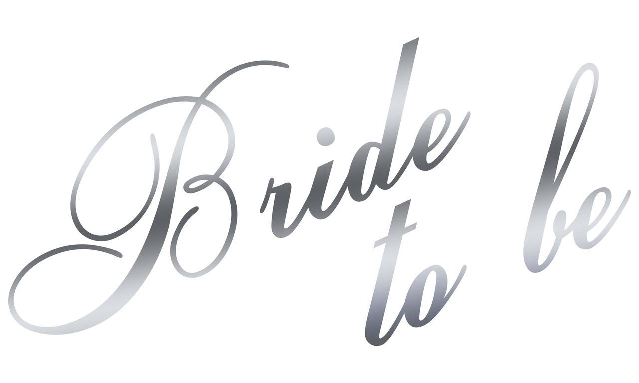 "Наклейка Bride to be(5) дзеркальне срібло 25х15 см (18"")"