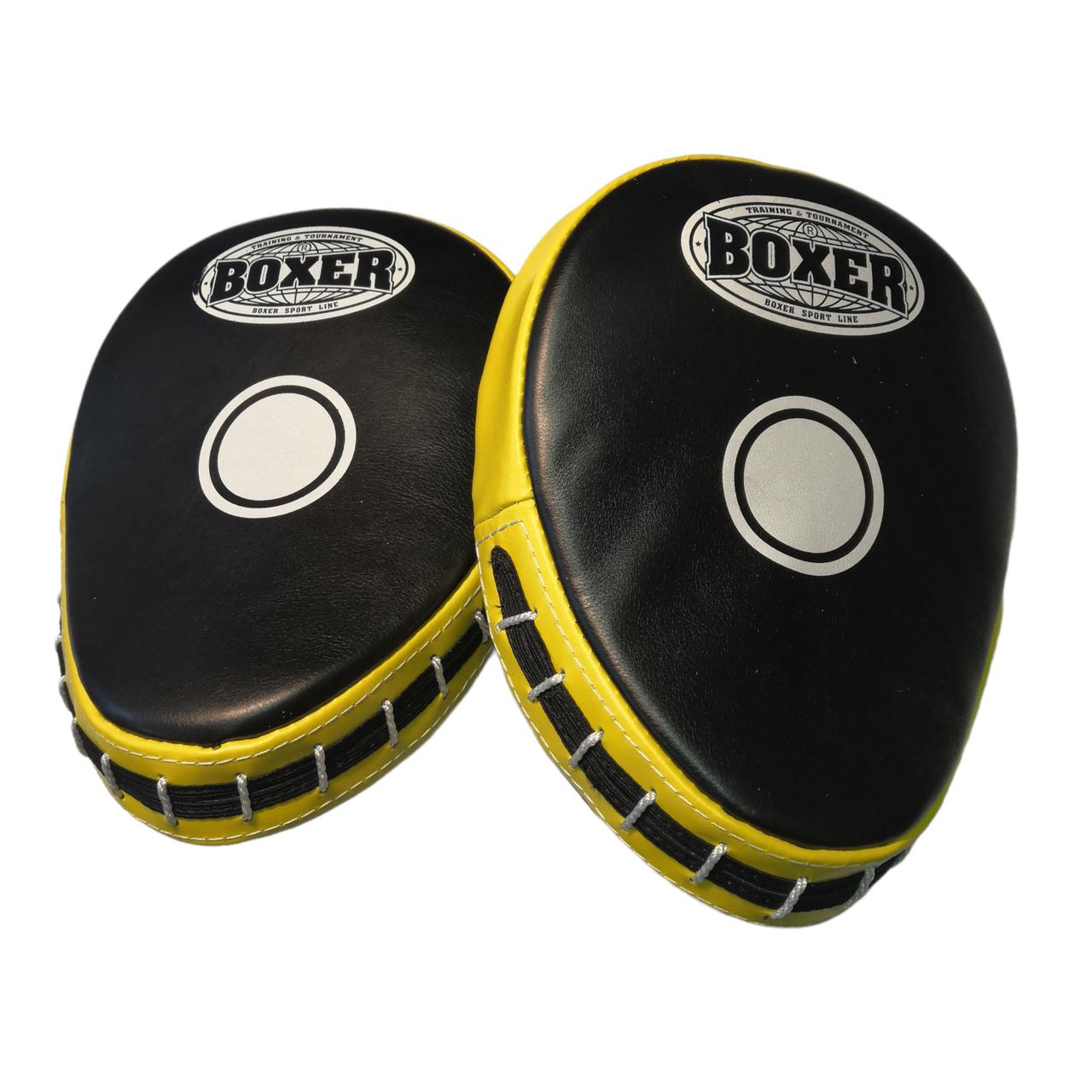 Боксерські лапи гнуті шкіра, жовті BOXER