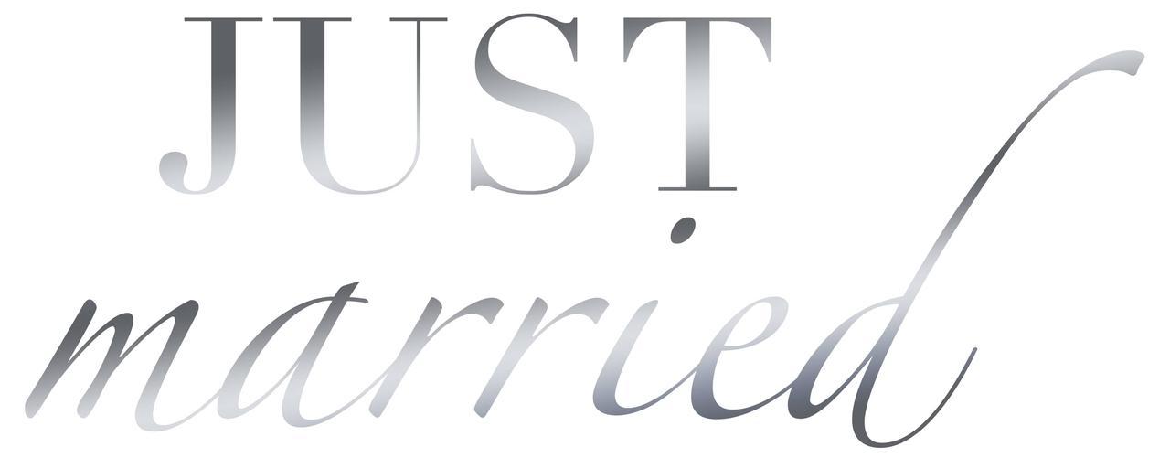 """Наклейка Just married(1) дзеркальне срібло 25х10 см (18"""")"""