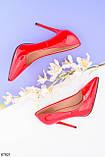 Женские туфли лодочки красные на каблуке 10,5 см эко лак, фото 2