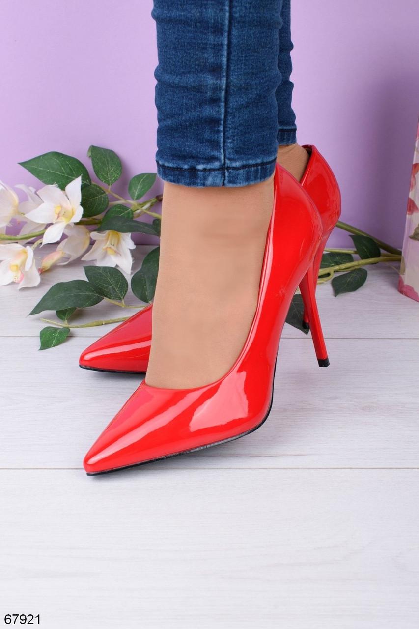 Женские туфли лодочки красные на каблуке 10,5 см эко лак