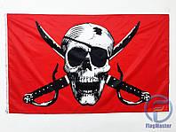 Пиратский флаг «Весёлый Роджер» на красном фоне 90х150см