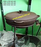 Сковорода чугунная гриль 40 см для барбекю, мангал, печи, фото 9