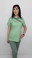 Медицинский женский костюм Медикал без вышивки хлопок короткий рукав
