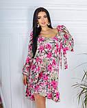 Жіноче плаття довгий рукав до колін супер софт принт велика квітка розмір: 42-44, 46-48, фото 2