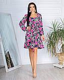 Жіноче плаття довгий рукав до колін супер софт принт велика квітка розмір: 42-44, 46-48, фото 4