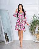 Жіноче плаття довгий рукав до колін супер софт принт велика квітка розмір: 42-44, 46-48, фото 7