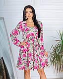Жіноче плаття довгий рукав до колін супер софт принт велика квітка розмір: 42-44, 46-48, фото 9