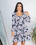 Жіноче плаття довгий рукав до колін супер софт принт велика квітка розмір: 42-44, 46-48, фото 8