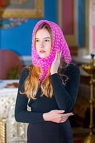 Церковный женский платок на голову красивый газовый в белый горошек розового цвета