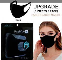 Маска захисна, багаторазова, тканинна чорна Fashion Mask