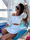 Летний костюм женский топ с открытыми плечами и расклешенная юбка из прошвы (р. S, M) 83ks1682, фото 2