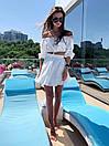 Летний костюм женский топ с открытыми плечами и расклешенная юбка из прошвы (р. S, M) 83ks1682, фото 6
