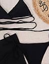 Жіночий купальник трійка чорний з спідницею з шифону та ліфом на зав'язці (р. S, M) 77kl642, фото 2