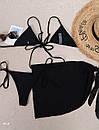 Жіночий купальник трійка чорний з спідницею з шифону та ліфом на зав'язці (р. S, M) 77kl642, фото 3