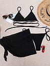 Жіночий купальник трійка чорний з спідницею з шифону та ліфом на зав'язці (р. S, M) 77kl642, фото 4