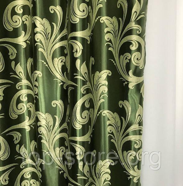 Готовый комплект штор блэкаут Шторы на тесьме Шторы 150x270 Качественные шторы Шторы цвет Зеленый