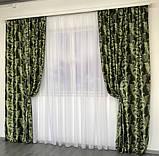 Готовый комплект штор блэкаут Шторы на тесьме Шторы 150x270 Качественные шторы Шторы цвет Зеленый, фото 3