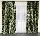 Готовый комплект штор блэкаут Шторы на тесьме Шторы 150x270 Качественные шторы Шторы цвет Зеленый, фото 4