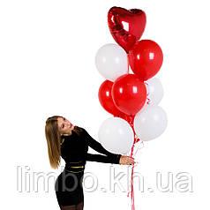 Воздушные шарики на день рождения в красно-белых цветах