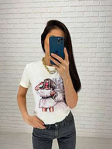 Легкая футболка женская с пришитым рисунком в разных вариантах (р. 42-56) 27ma414