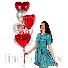 Воздушные шары в виде сердца с шарами хром и конфетти