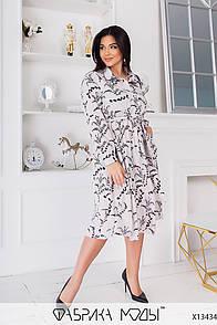 Вільне плаття з квітковим принтом з рубашечным коміром у великих розмірах (р. 50-64) 1ba2
