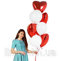 Гелиевые шарики на день рождения и фольгированный сердца