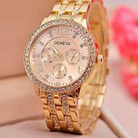 Часы женские наручные GENEVA GOLD, стильные наручные часы золотые