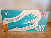 Перчатки нитриловые голубые XS, 100шт/уп