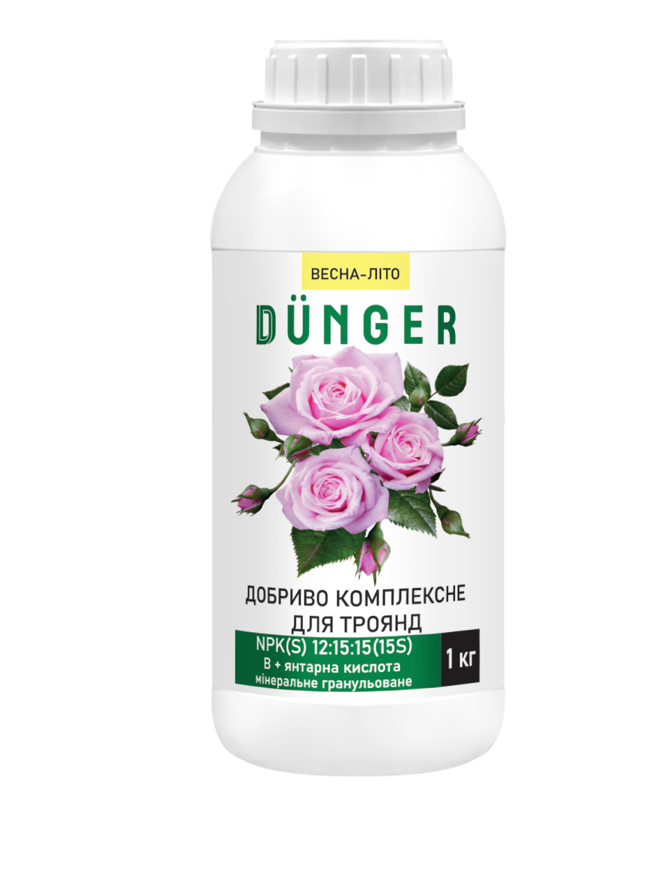 Dunger Комплексне добриво для троянд 1кг NPKS(В) 12:15:15:15(0,035) + 0,01% янтарна кислота