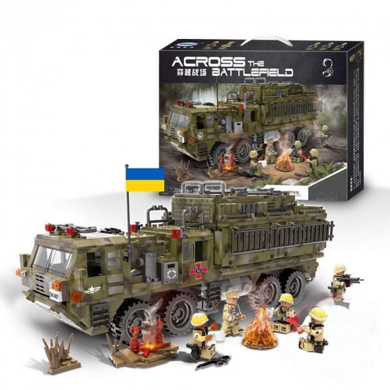 """Конструктор XB 06014 """"Важкий військовий вантажівка з системою залпового вогню"""" 1377 деталей."""