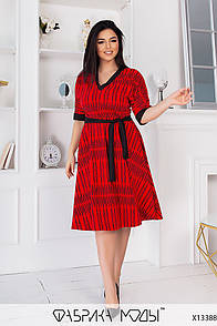 Трапецієвидне плаття з рукавом до ліктя у великих розмірах з поясом і V вирізом (р. 42-60) 11515