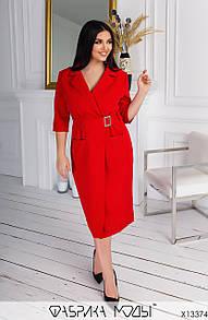Плаття на запах у великих розмірах з рукавом 3/4 під пояс довжиною міді (р. 48-54) 11518