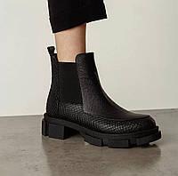 Жіночі черевики Челсі з тисненням натуральна шкіра чорні Kelly Corso