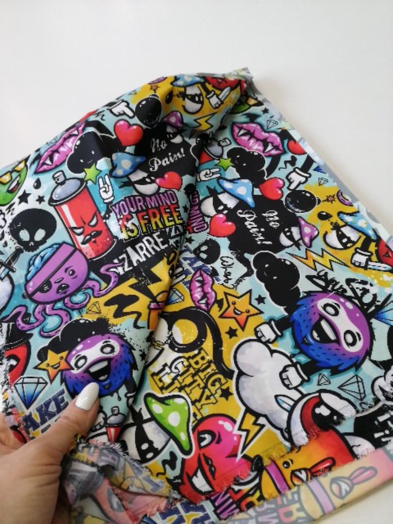 """Плащова тканина дюспо """"Графіті чорниця"""" - ширина 150 див."""