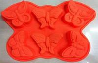 Формы и противень для выпечки (силикон) бабочки 6 ячеек FRICO FRU-859, 23.5x20.5x4 см.