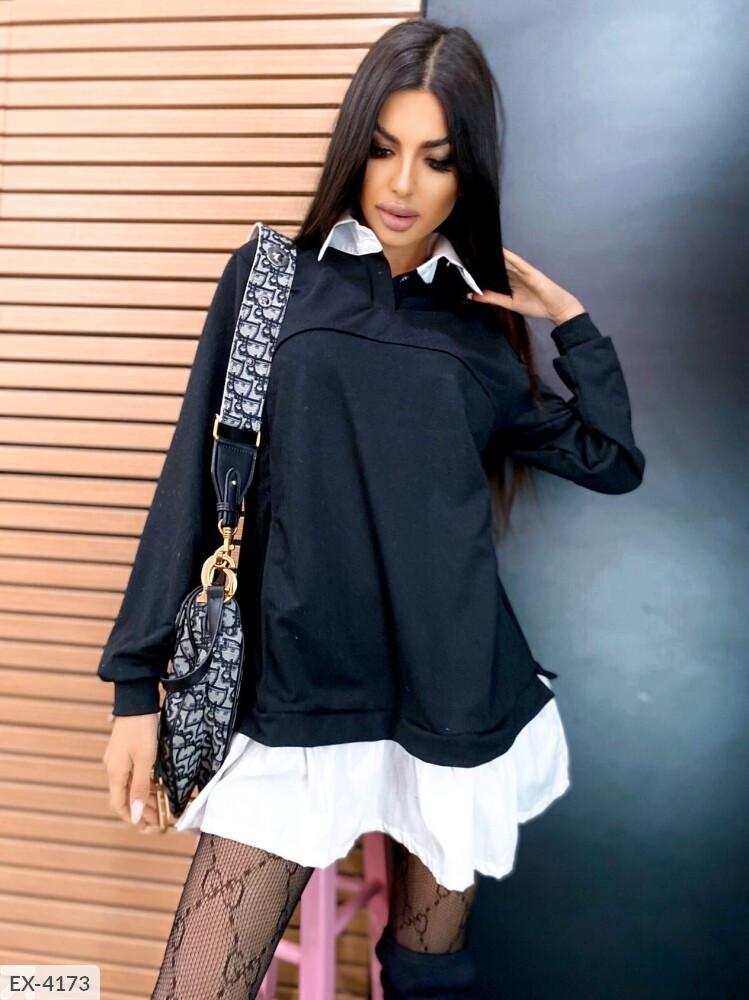 Платье женское с имитацией рубашки  (батал)
