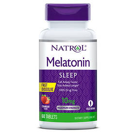 Відновник Natrol Melatonin 10mg Fast Dissolve, 60 таблеток Полуниця