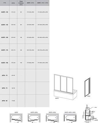 AVDP3-170 (Rain) white Двері для ванн, фото 2