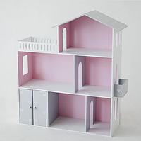 Ляльковий будиночок KiddyRoom 3 поверхи сірий з рожевим