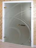 Стеклянные межкомнатные двери с рисунком в деревянной коробке, фото 2