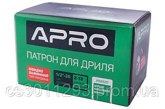 """Патрон для дрилі швидкозажимний Apro - 1/2"""" x 20 x 2-13 мм, фото 3"""