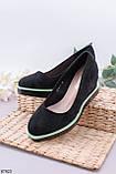 Туфлі жіночі чорні еко замш на танкетці 8 см, фото 2