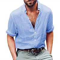 Тонкая мужская рубашка из батиста. ХС-12ХЛ. Цвет в ассортименте