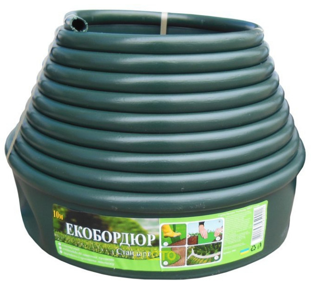 """Садовый бордюр """"Екобордюр"""" ТИП 3 (10м) зеленый, газонный бордюр, стандартный - фото 1"""