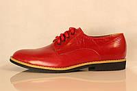 Красные кожаные туфли без каблука, фото 1