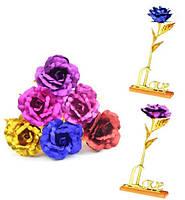 Светящаяся Роза, 24 K, покрытая фольгой, розовая XY19-52, фото 2